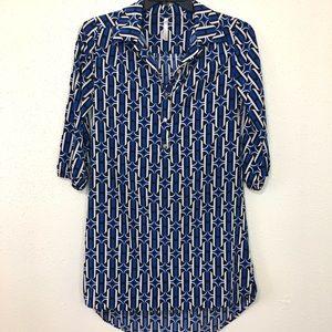 Mona B Blue Geo Print Shirt Dress